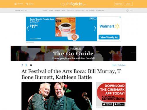 At Festival of the Arts Boca: Bill Murray, T Bone Burnett, Kathleen Battle