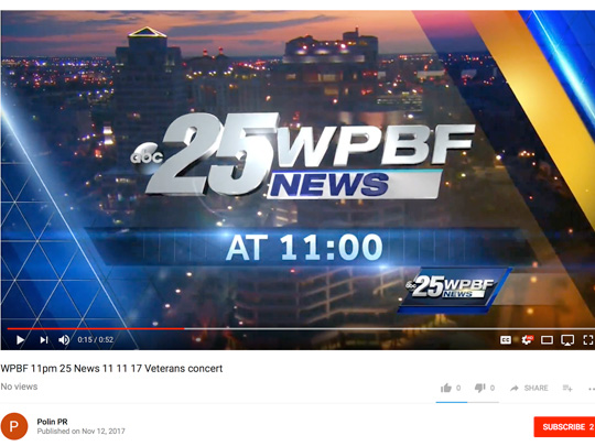video screenshot of WPBF News, placement by Polin PR