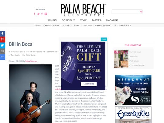 PalmBeachIllustrated.com story placed by Polin PR for Festival of The Arts BOCA