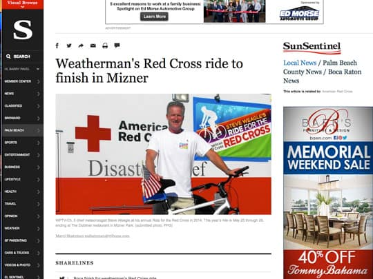 Weatherman's Red Cross ride to finish at Mizner