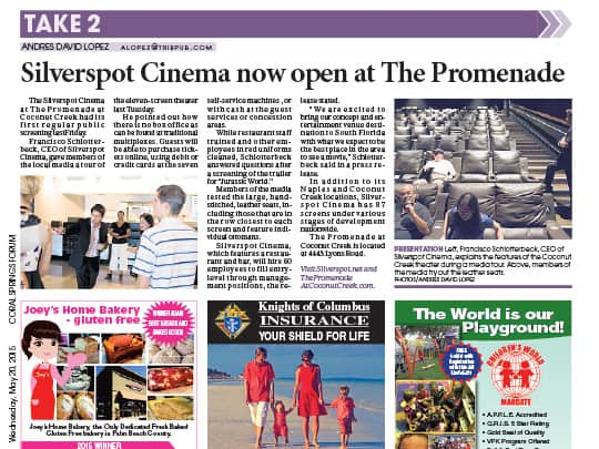 Polin PR Silverspot Cinema Sun-Sentinel placement