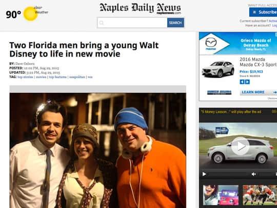 Polin PR Walt Before Mickey NaplesNews.com article
