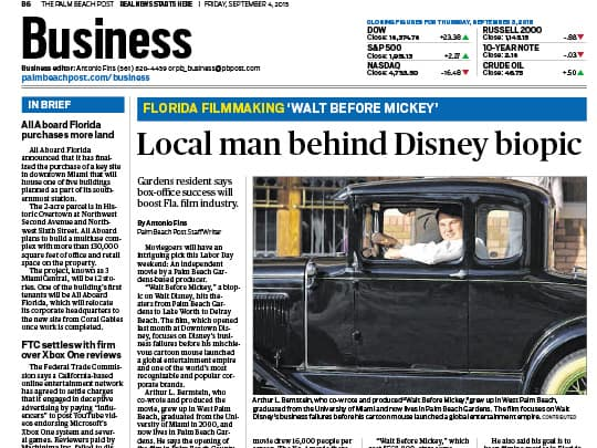 Polin PR Palm Beach Post Walt Before Mickey Business article