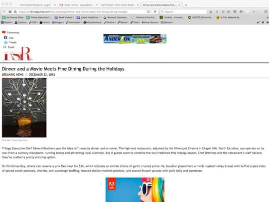 Polin PR Placement for Silverspot Cinemas FSRMagazine.com
