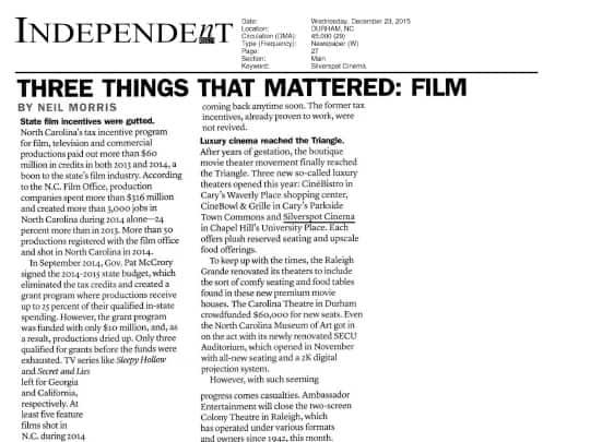 Polin PR placement Silverspot Cinemas Independent 122315