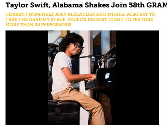Joey Alexander playing piano