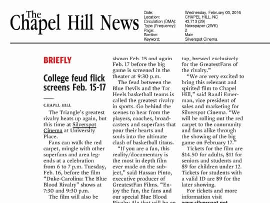 Polin PR Silverspot Cinemas Chapel Hill News article