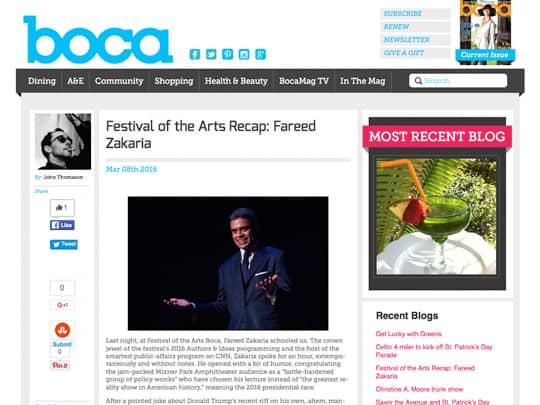 screenshot of boca mag article on Fereed Zakaria