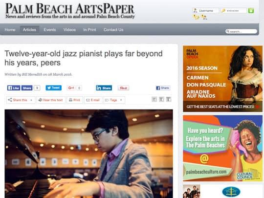screenshot of Joey Alexander article on Palm Beach Arts Paper website