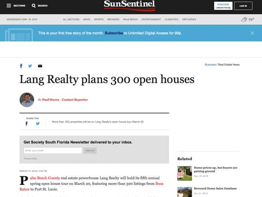 sun-sentinel.com lang realty article