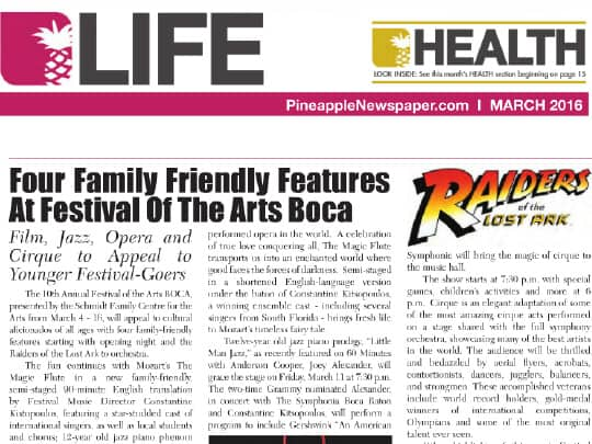 Screenshot Pineapple March 2016 story about Festival of the Arts Boca