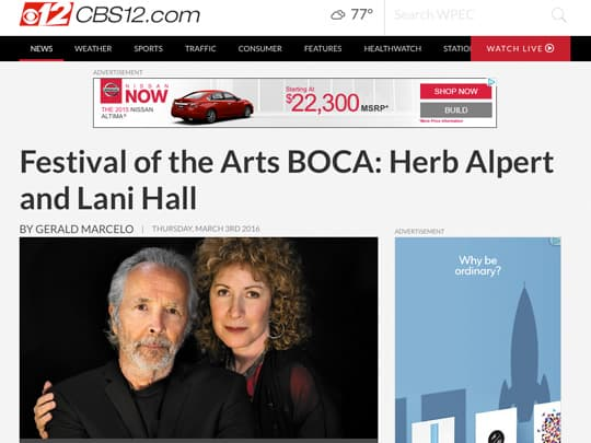 CBS12 feature on Herb Alpert and Lani Hall