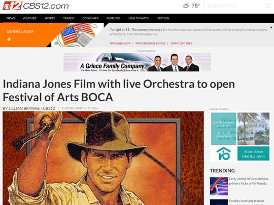 Indiana Jones Film with live Orchestra to open Festival of Arts BOCA