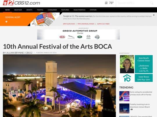 CBS12 Festival of the Arts BOCA screenshot