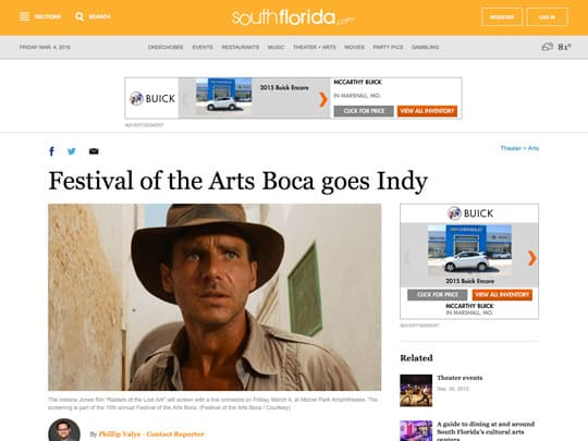 Screenshot of southflorida.com story on Raiders of the Lost Ark and Festival of the Arts BOCA
