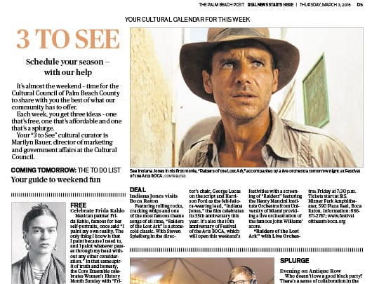 Palm Beach Post article about Raiders of the Lost Ark