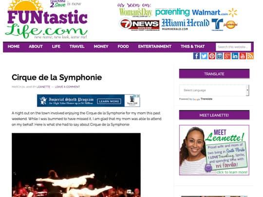 cirque de la sypmphonie story on funtastic life, polin pr