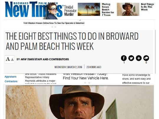 New Times cover Eight best things to do in Broward and Palm beach this week
