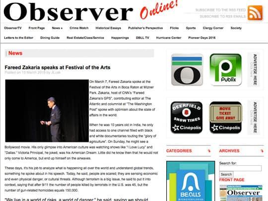 screenshot of ObserverNewspaperOnline.com article