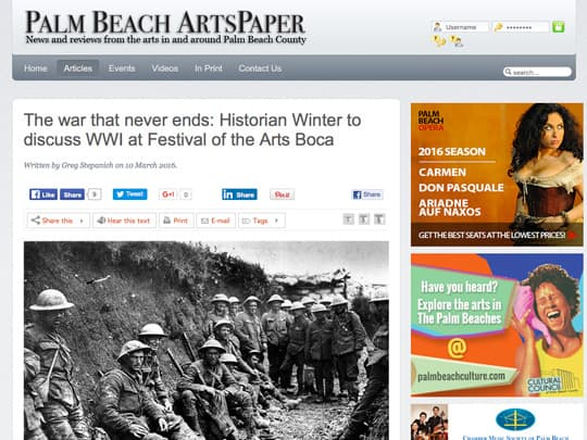 screenshot of PalmBeachArtsPaper.com article
