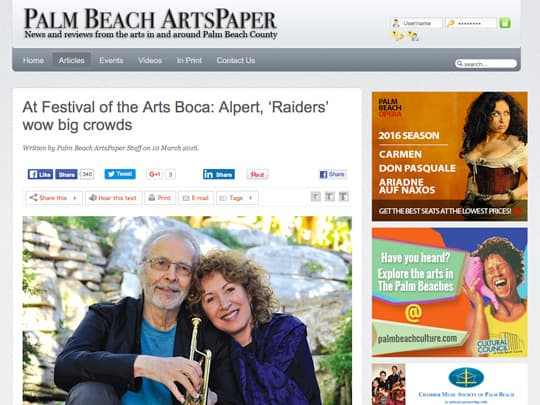 screenshot of Herb Alpert story on PalmBeachArtsPaper.com