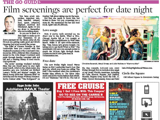 Sun Sentinel Preview section Silverspot Cinemas placement