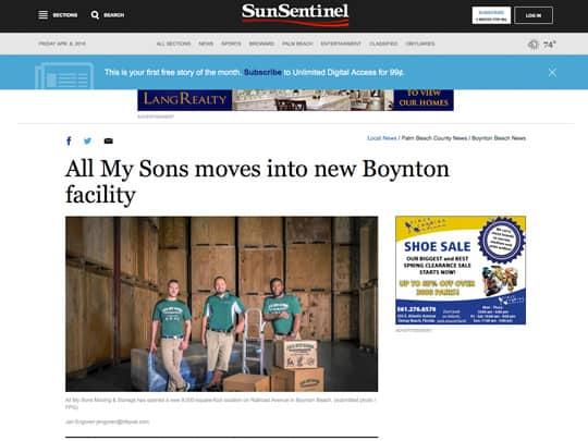 All my Sons sun sentinel article polin pr