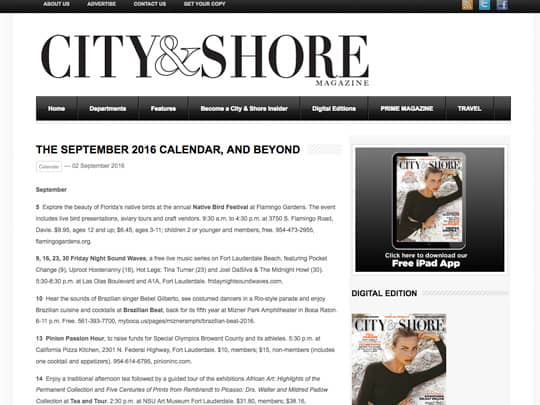 Polin PR placement on cityandshore.com