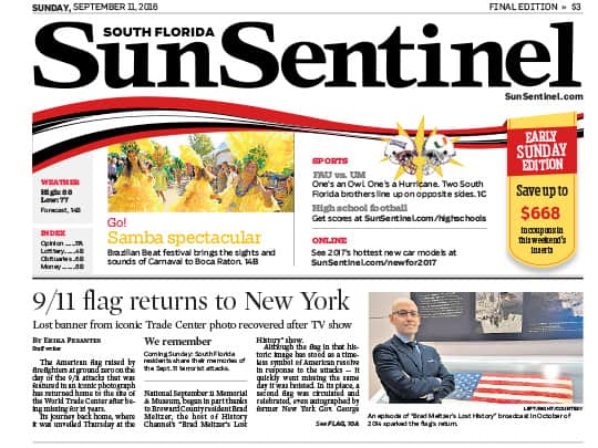 Sun-Sentinel newspaper cover page