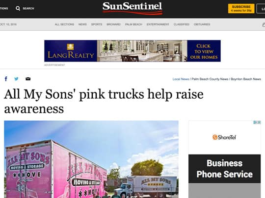 Sun Sentinel article of All My Sons Moving company