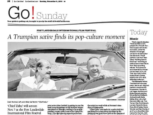 Go! Sunday article about Cheif Zabu movie