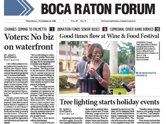 Tree lighting story in Boca Raton Forum