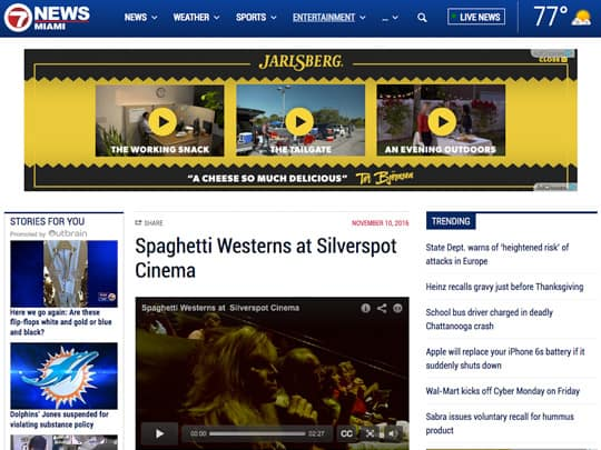WSVN.com screenshot Silverspot Cinema placement