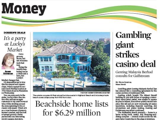 Sun-Sentinel Money section pr listing