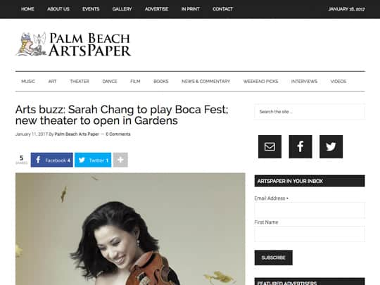 Palm Beach Arts Paper article