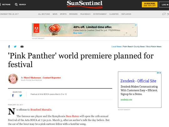 sun-sentinel.com online Pink Panther article
