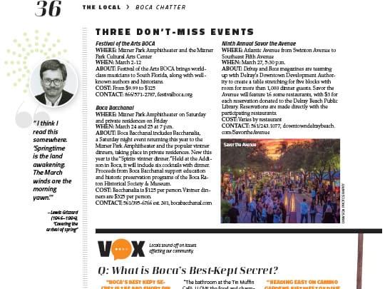 Boca Magazine Festival of the Arts BOCA placement