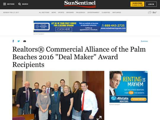 Sun-Sentinel.com page on Realtors Alliance of the Palm Beaches