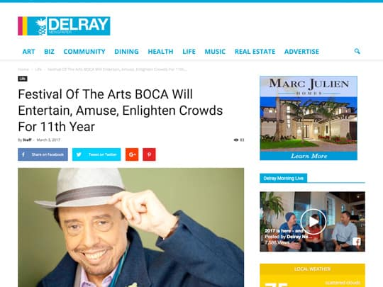 DelrayNewspaper.com story about Festival of the Arts BOCA