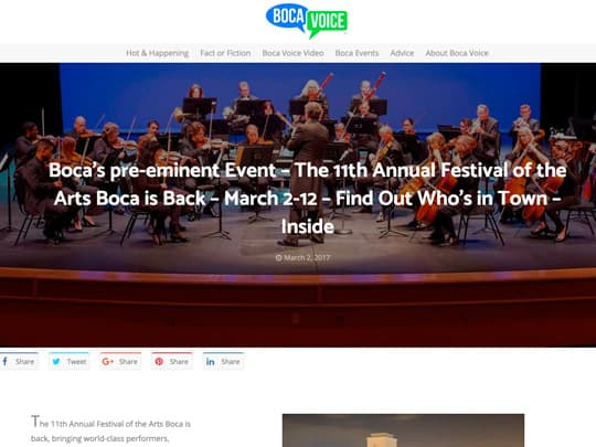 BocaVoice.com article about Festival of the Arts BOCA