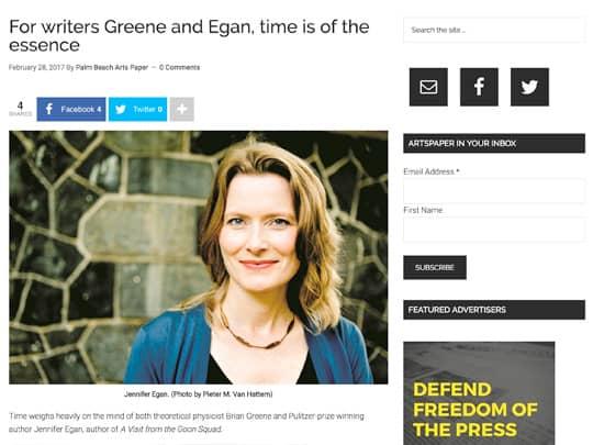 PalmBeachArtsPaper.com Green Egan article