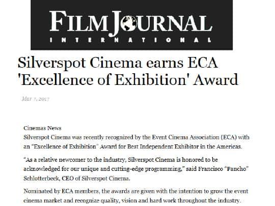 Film Journal International Excellence of Exhibition award Silverspot cinema