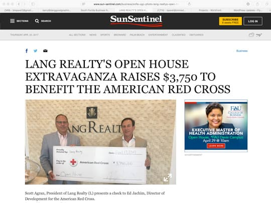 Lang Realty open house extravaganza raises $3,750 to benefit the American Red Cross
