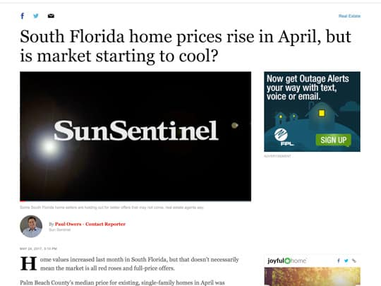 Realtors Association of the Palm Beaches Sun-Sentinel article screenshot