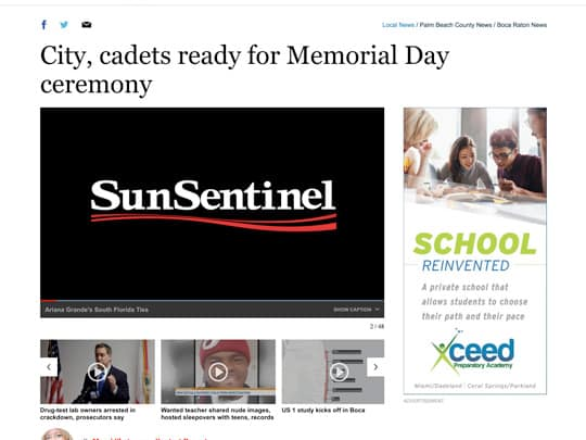Screen shot City, cadets ready for Memorial Day ceremony