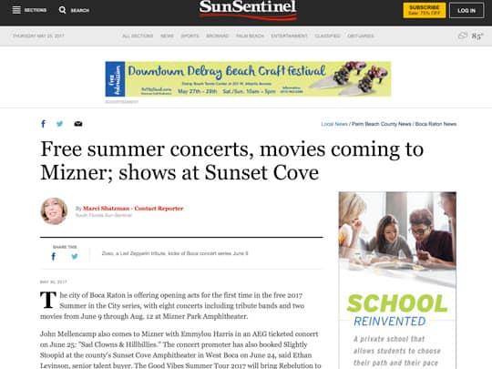 Free summer concerts, movies coming to Mizner Sun-Sentinel screenshot