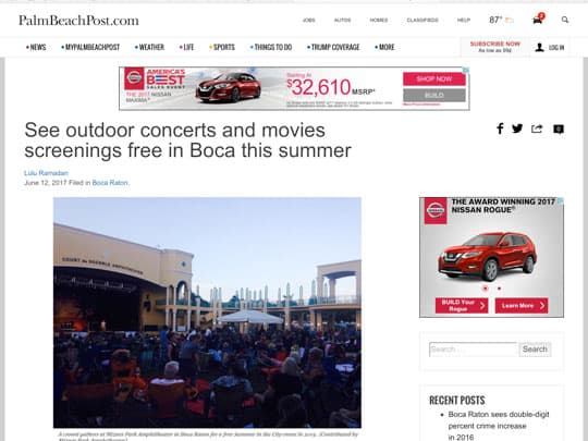 Palm Beach Post story cover on City of Boca Raton