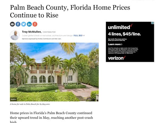 screenshot Forbes article on Palm Beach home prices