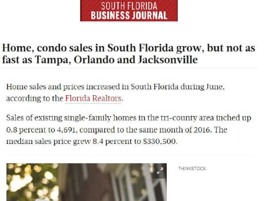 South Florida Business Journal placement by Polin PR