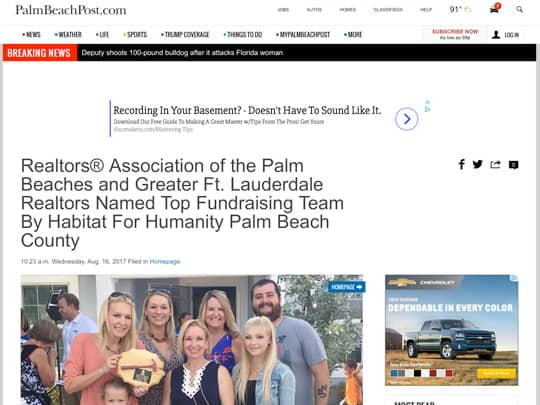 PalmBeachPost.com article placed by polin pr